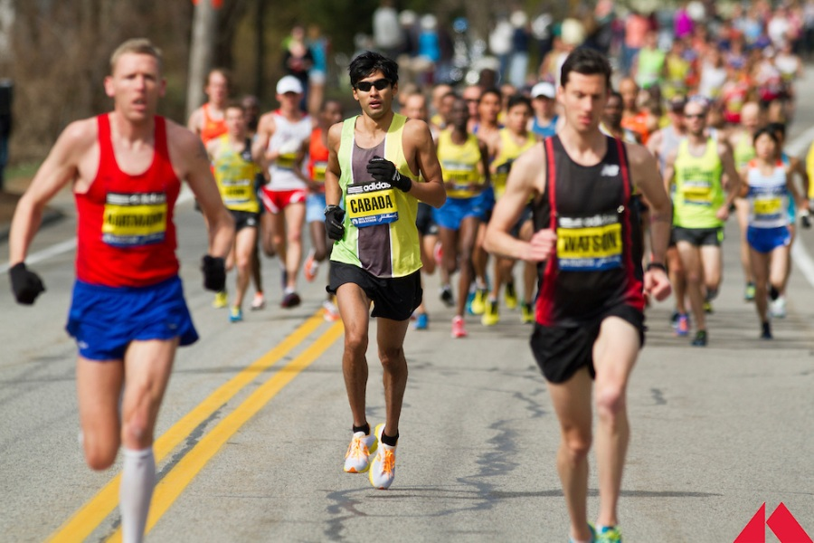 Boston marathon elite men racing